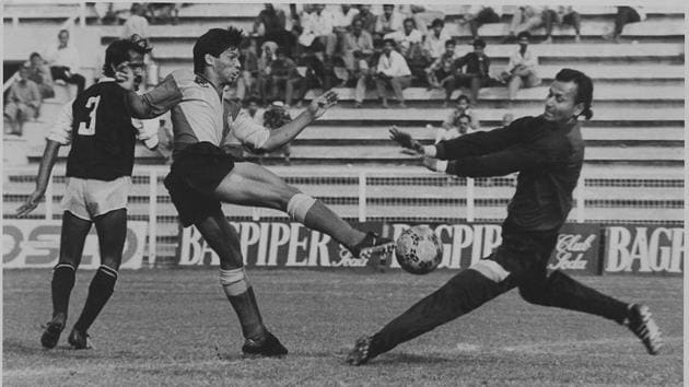 A young Carlton Chapman in action during the 1993 Durand Cup quarter-final match between East Bengal and Mohammedan Sporting in New Delhi. - HT Photo.