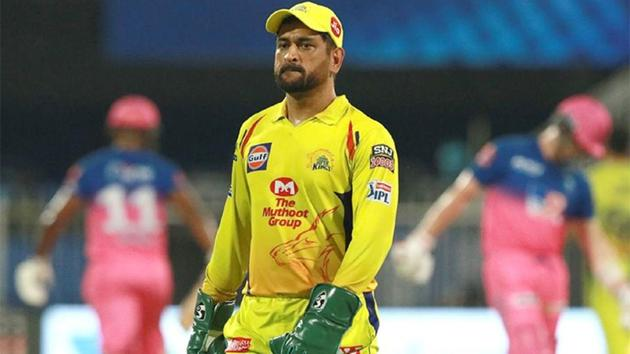 IPL 2020: MS Dhoni looks on during the match against Rajasthan Royals.(IPL/Twitter)