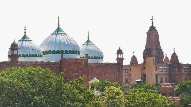 The Sri Krishna Janmabhoomi temple and Shahi Idgah mosque in Mathura.(PTI PHOTO.)