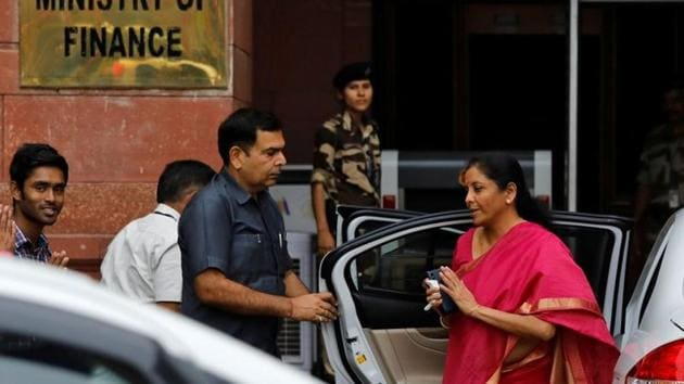 Finance Minister Nirmala Sitharaman arrives at her office before leaving for parliament to present the federal budget in New Delhi.(REUTERS/ File photo)