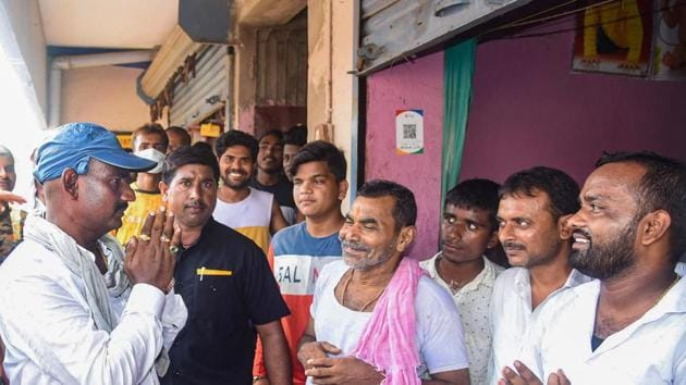Ritlal Yadav during a door-to-door election campaign, at Danapur, in Patna in Sept ember, 2020.(PTI File)