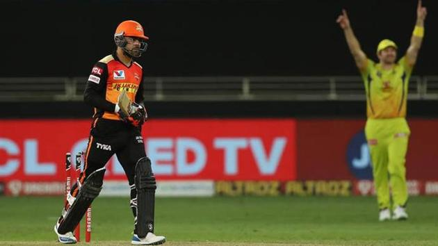 IPL 2020: Rashid Khan walks back after getting out for 14 off 8 balls.(IPL/Sportzpics)