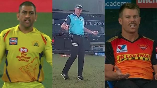 IPL 2020 SRH vs CSK: MS Dhoni looked angry at Paul Reiffel for thinking the ball was a wide.(IPL/Screengrabs)