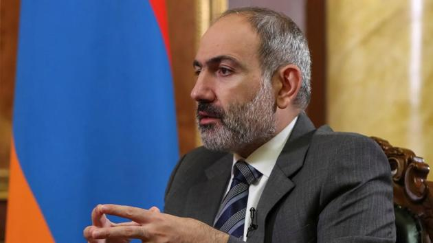 Armenian Prime Minister Nikol Pashinyan is pictured during an interview with Reuters in Yerevan (Hayk Baghdasaryan/Photolure via REUTERS)