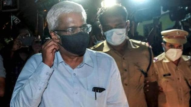 M Sivasankar, former principal secretary of Kerala Chief Minister leaves NIA office after being questioned by the agency in Kerala gold smuggling case, in Kochi in September.(PTI FILE PHOTO)
