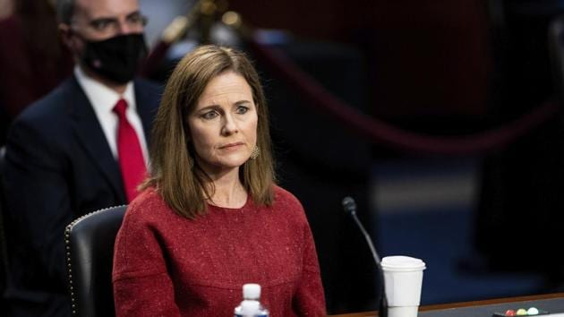Supreme Court nominee Amy Coney Barrett listens during a confirmation hearing before the Senate Judiciary Committee, Tuesday, Oct. 13, 2020, on Capitol Hill in Washington.(AP)