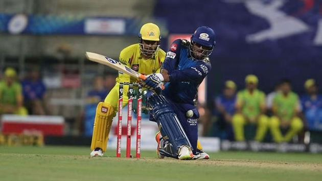 IPL 2020: Saurabh Tiwary in action against Chennai Super Kings in the opener.(IPL/Twitter)