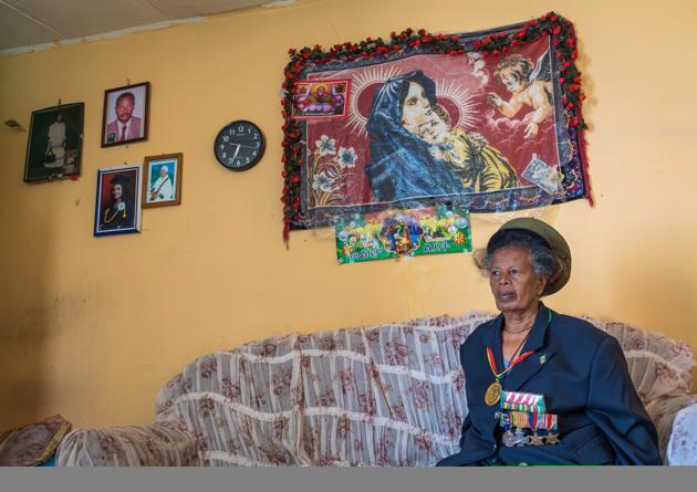 A woman veteran of the Italo-Ethiopian war in Addis Ababa, Ethiopia, on November 30, 2019.(Eric Lafforgue/Corbis via Getty Images)