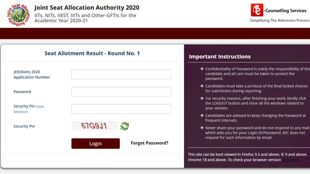 JoSAA counselling first allotment list 2020.(Screengrab)