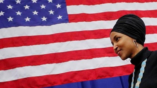 US Representative Ilhan Omar (D-MN) departs following a campaign event.(REUTERS)