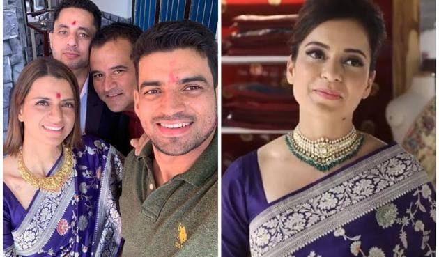 Kangana Ranaut joked about Rangoli Chandel borrowing her saree and not returning it.(Instagram/rangoli_r_chandel and Facebook/taneirasarees)