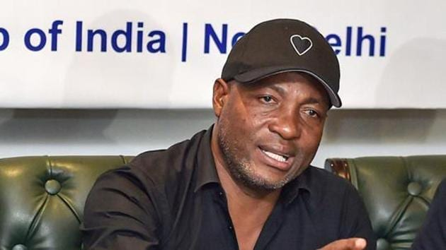 Former West Indies cricketer Brian Lara during the launch of first-ever Samarthan Women's National Cricket Tournament for the Blind at a press conference, in New Delhi, Saturday.(PTI)