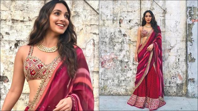 Kiara Advani sizzles up Navaratri vibe in Rs 98k berry red gharara and bralette set(Instagram/kiaraaliaadvani)