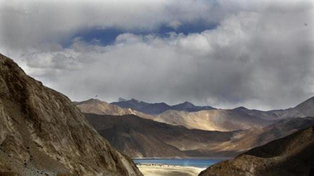 Pangong Tso lake is seen near the India China border in India's Ladakh area.(AP)