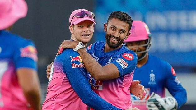 Dubai: Rajasthan Royals players celebrate the wicket of Aaron Finch of Royal Challengers Bangalore during Indian Premier League (IPL) T20 cricket match, at the Dubai International Cricket Stadium in Dubai, Saturday, Oct. 17, 2020.(PTI)