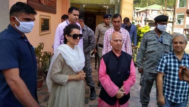 Actress Kangana Ranaut with former chief minister Shanta Kumar at his home at Palampur on Monday.