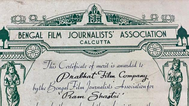 According to the details on the Certificate of Merit, the honour was presented to the film Ram Shastri for the Best Hindi Picture of the Year 1944 by Bengal Film Journalists' Association, Calcutta. It bears the signature of the association's president Tushar Kanti Ghosh and honorary secretary SM Bagde.(Sourced)