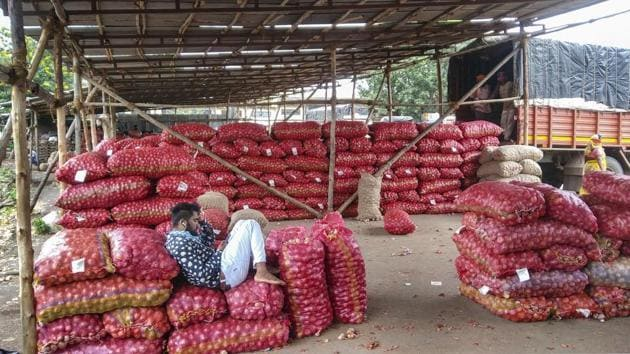 Onion trade in the country suffers from classic price volatility, a term used for regular patterns of wild swings in prices. It is caused mainly because of supply-disrupting factors like extreme weather, high losses from inadequate or improper storage or frequently shifting production levels.(PTI File)