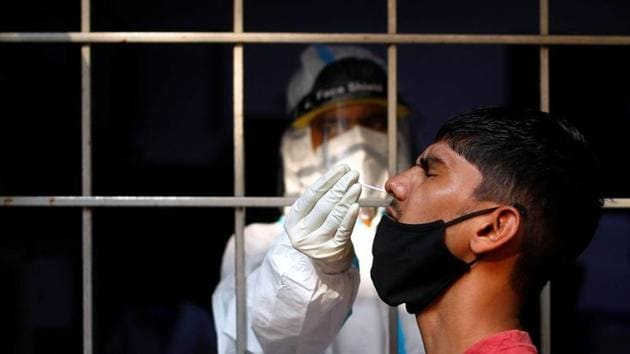 Ghaziabad conducted a total of 3,90,035 tests for the Sars-Cov-2 till October 17, and has an overall test positivity rate of about 4.36%.(Reuters Photo. Representative image)