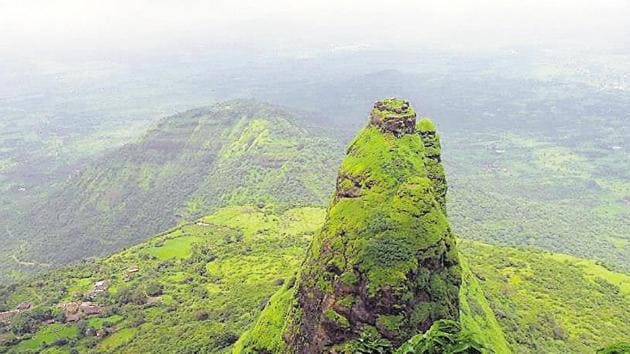 Kalavantin Durg as seen from Prabalgad. The reopenings have being decided on in accordance with unlock guidelines.(HT PHOTO)