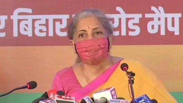 Finance minister Nirmala Sitharaman released BJP's poll manifesto for upcoming Bihar elections.(ANI Photo)