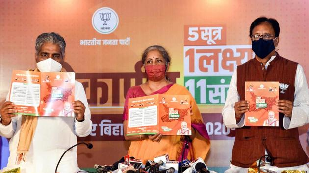 Union finance minister Nirmala Sitharaman along with BJP General Secretary Bhupendra Yadav and state party president Sanjay Jaiswal releases party manifesto ahead of the Bihar Assembly Elections, in Patna on Thursday.(PTI)