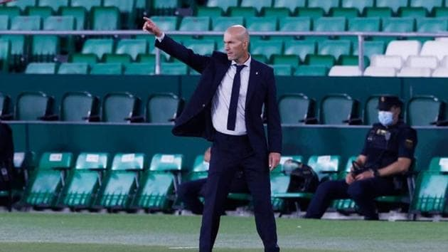 Real Madrid manager Zinedine Zidane reacts.(REUTERS)