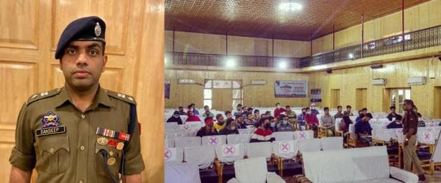 Senior superintendent of police (SSP) Sandeep Choudhary coaching government job aspirants at the Anantnag Town Hall during one of the offline classes under Operation Dreams this week.(HT Photo)