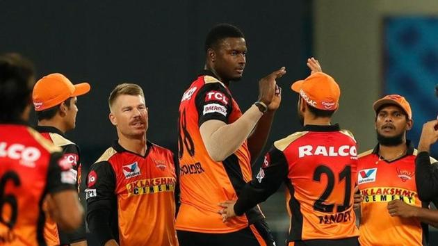 Photo of Sunrisers Hyderabd players from 40th IPL 2020 match against Rajasthan Royals(IPL/Twitter)