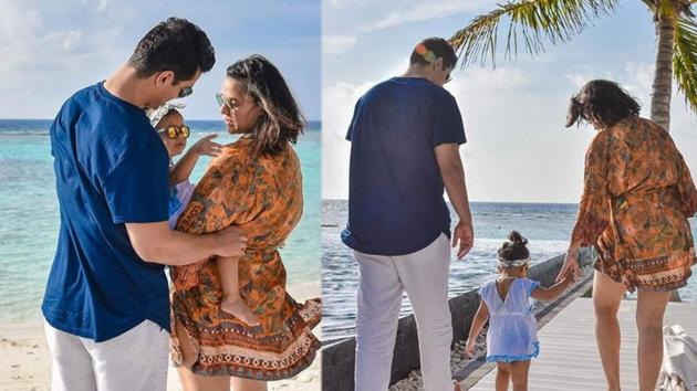 Neha Dhupia and Angad Bedi with daughter Mehr in the Maldives.