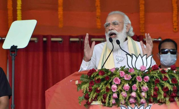 Prime Minister Narendra Modi underlining that his government has worked tirelessly for removing corruption from the country.(PTI)