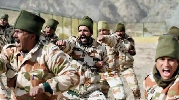 Indo-Tibetan Border Police (ITBP) jawans during a drill at the Nelong Border Outpost in Uttarkashi district of Uttarakhand.(PTI file photo)