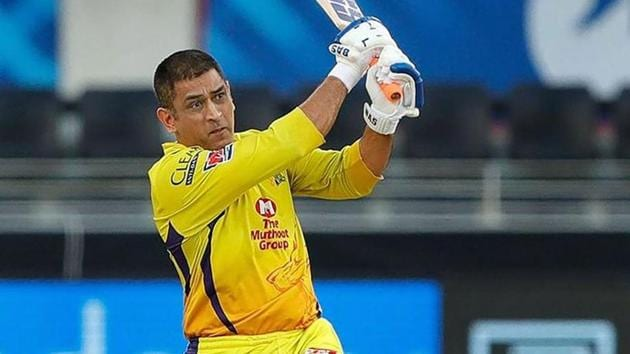 IPL 2020 CSK vs RCB: MS Dhoni plays a shot.(PTI)