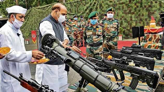 Defence minister Rajnath Singh performs 'Shastra Puja' at the Sukna Army Camp in Darjeeling on Sunday.