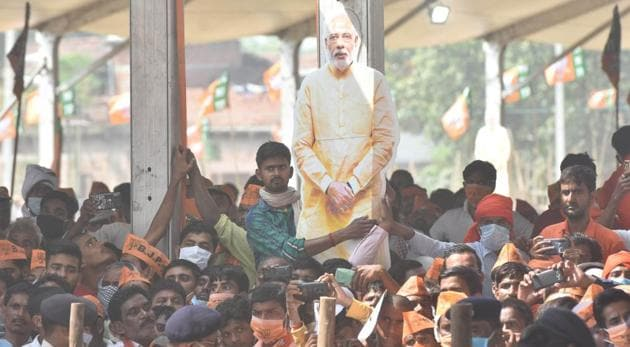 A scene from PM Narendra Modi's first rally in Bihar, in Sasaram, on October 23, 2020 (Photo by Parwaz Khan / Hindustan Times)