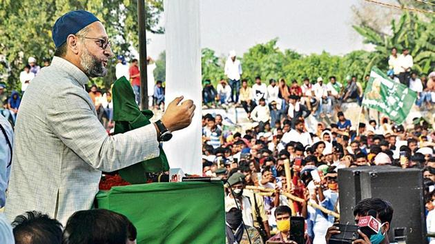 All India Majlis-e-Ittehad-ul-Muslimeen president Asaduddin Owaisi during a joint election campaign with the RLSP, ahead of the Bihar assembly polls in Bhabua on Saturday.