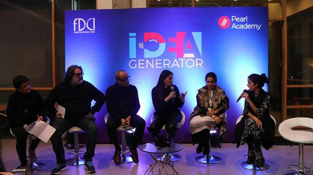 Industry stalwarts interact with Pearl Academy students; (L-to-R) Bandeep Singh (Photographer), David Abraham (Designer), Kalyani S Chawla (Serial Entrepreneur),Supriya Dravid ( Editor in Chief- Elle) and Nainika Karan (Designer)(Pearl Academy)