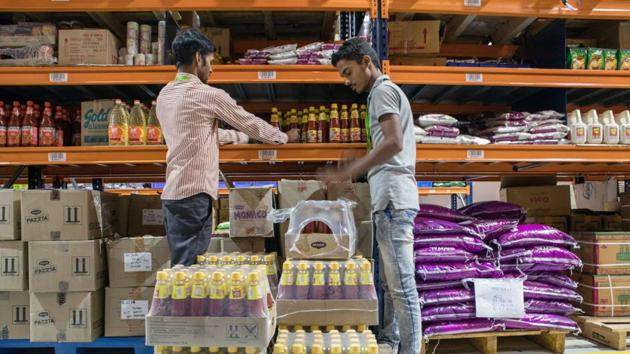 The deal, if struck, will give Tata group an immediate head-start to take on the three big players in India's thriving online grocery marketplace: Reliance Industries Ltd, Walmart-owned Flipkart and Amazon.(Bloomberg)