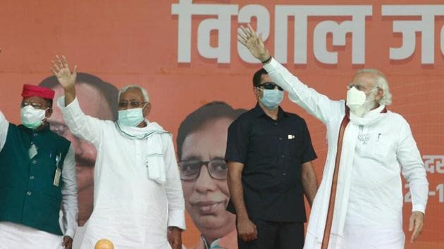 Prime Minister Narendra Modi with Bihar Chief Minister and Janata Dal (United) President Nitish Kumar .(PTI)
