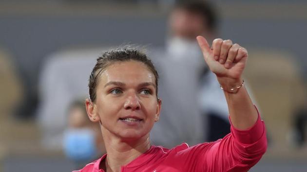 Romania's Simona Halep flashes a thumbs up.(AP)
