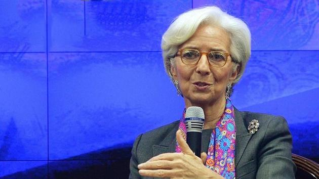 """""""I'm going to be myself, and therefore probably different,"""" Christine Lagarde declared in a defining monologue at her first press conference as European Central Bank president in late 2019(AFP)"""