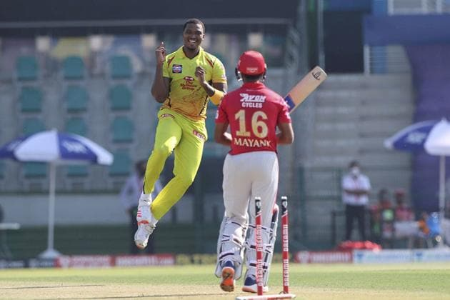 Abu Dhabi: Lungisani Ngidi of Chennai Superkings celebrates the wicket of Mayank Agarwal of Kings XI Punjab during Indian Premier League (IPL) 2020 cricket match, at Sheikh Zayed Stadium in Abu Dhabi, United Arab Emirates, Sunday, Nov. 1, 2020. (PTI Photo/Sportzpics for BCCI)(PTI01-11-2020_000131A) (PTI)