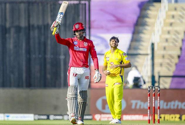 Abu Dhabi: Deepak Hooda of Kings XI Punjab raises his bat after scoring fifty runs during Indian Premier League (IPL) 2020 cricket match against Chennai Super Kings, at Sheikh Zayed Stadium in Abu Dhabi, United Arab Emirates, Sunday, Nov. 1, 2020. (PTI Photo/Sportzpics for BCCI)(PTI01-11-2020_000142B) (PTI)