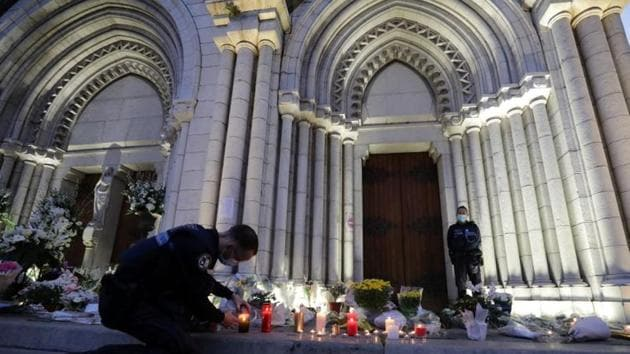 """An assailant shouting """"Allahu Akbar"""" (God is Greatest) beheaded a woman and killed two other people in a church in Nice on Thursday, in France's second deadly knife attack in two weeks with a suspected Islamist motive(Reuters)"""