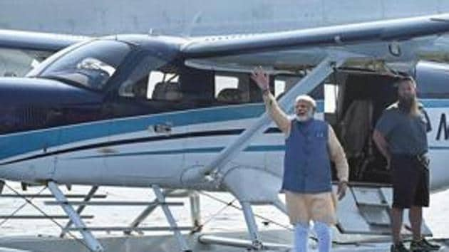 Prime Minister Modi on October 31 inaugurated India's maiden seaplane service by boarding the twin-engine plane from pond-3 close to Sardar Sarovar Dam.(PTI file photo)