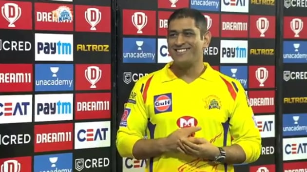 CSK captain MS Dhoni after beating KXIP in an IPL 2020 match(Screengrab)