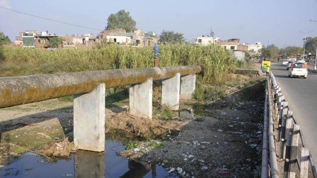 The CPCC had surveyed the N-Choe recently and discovered that discharge from untreated sewage from Mohali area mixes with the N-Choe at the Garden of Springs outlet and pollutes the drain.(HT File Photo)