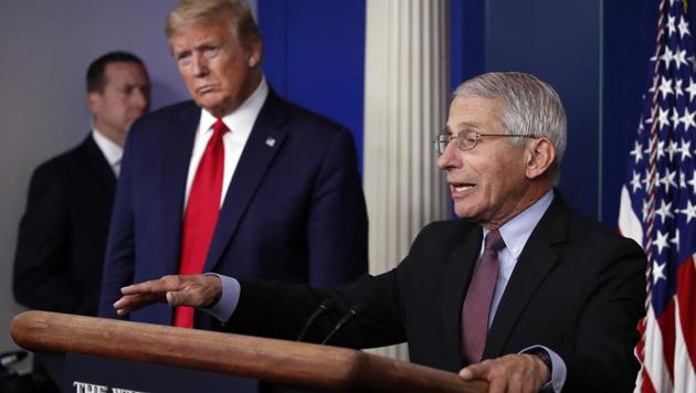 In this April 22, 2020, file photo, President Donald Trump listens as Dr. Anthony Fauci, director of the National Institute of Allergy and Infectious Diseases, speaks about the coronavirus in the James Brady Press Briefing Room of the White House in Washington. (AP Photo/Alex Brandon, File)(AP)