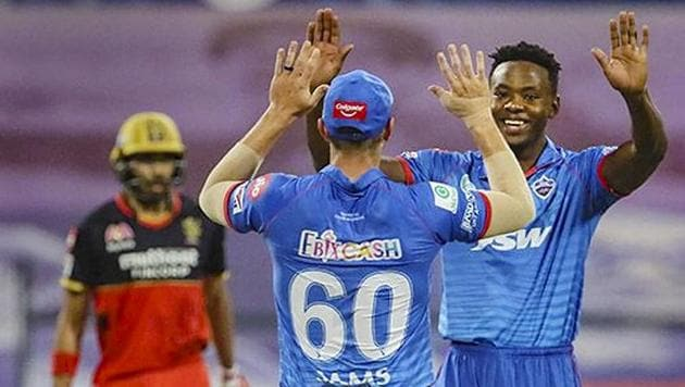 Kagiso Rabada of Delhi Capitals celebrates the wicket of Joshua Philippe of the Royal Challengers Bangalore during Indian Premier League (IPL) 2020 cricket match at Sheikh Zayed Stadium in Abu Dhabi, United Arab Emirates.(PTI)