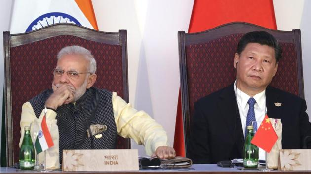 File photo: Prime Minister Narendra Modi and Chinese President Xi Jinping during the BRICS leaders meeting(AP)